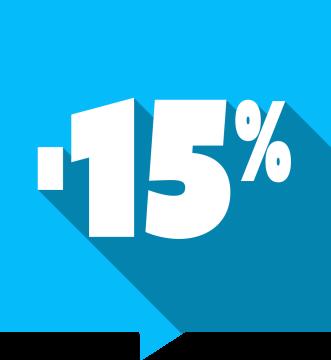 Autocollant Soldes -15% Carré Couleurs