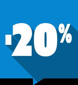 Autocollant Soldes -20% Carré Couleurs