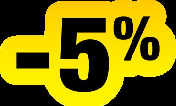 Autocollant Soldes Jaunes Et Noir -5%