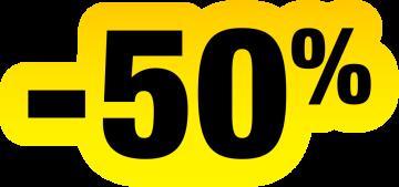Autocollant Soldes Jaunes Et Noir -50%