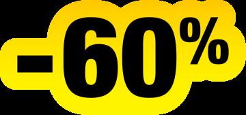 Autocollant Soldes Jaunes Et Noir -60%