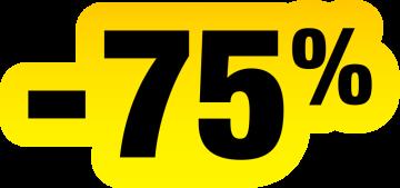 Autocollant Soldes Jaunes Et Noir -75%