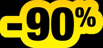 Autocollant Soldes Jaunes Et Noir -90%