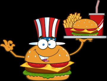 Autocollant Fast Food Hamburger Mascotte