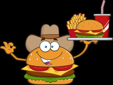 Autocollant Fast Food Hamburger Mascotte 2