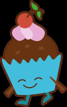 Autocollant Pâtisserie Cupcake Smiley