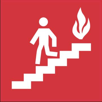 Autocollant Indication Incendie Sortie Escaliers