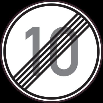Autocollant Indication Fin Limitation Vitesse 10km/h