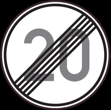 Autocollant Indication Fin Limitation Vitesse 20km/h