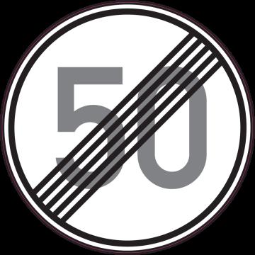Autocollant Indication Fin Limitation Vitesse 50km/h