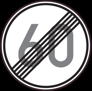 Autocollant Indication Fin Limitation Vitesse 60km/h