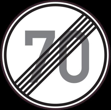 Autocollant Indication Fin Limitation Vitesse 70km/h