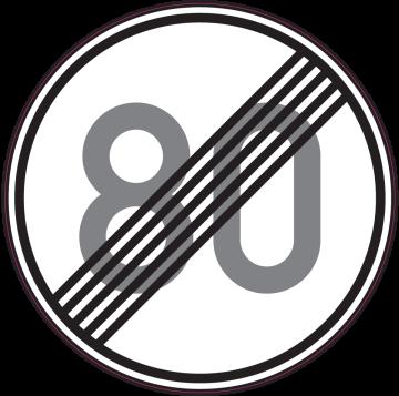 Autocollant Indication Fin Limitation Vitesse 80km/h