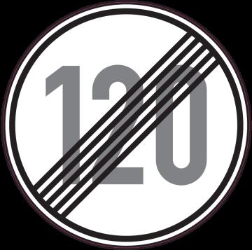 Autocollant Indication Fin Limitation Vitesse 120km/h