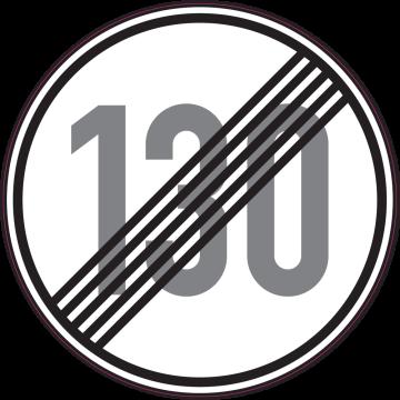 Autocollant Indication Fin Limitation Vitesse 130km/h