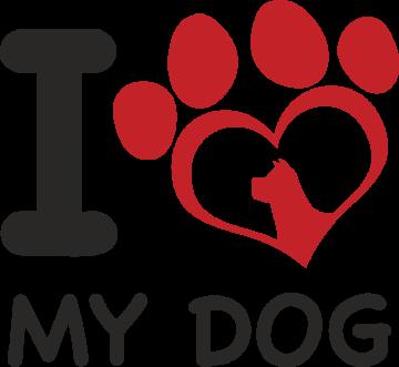 Autocollant I Love My Dog
