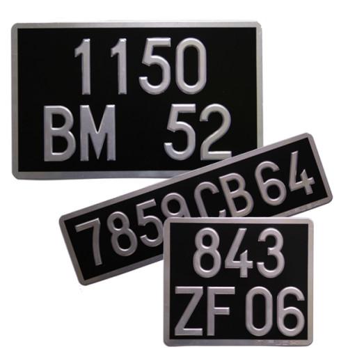 Plaques Moto en Aluminium Collection noires ( ancien n° )