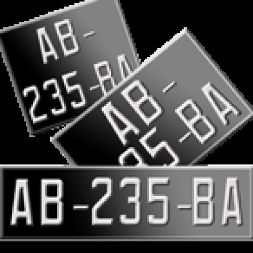 Plaques Moto Collection noires en Aluminium ( nouveau n° )