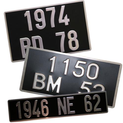 Plaques Auto Collection noires en Aluminium ( ancien n° )