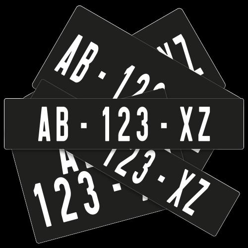 Plaques Auto en Aluminium Collection noires ( nouveau n° )