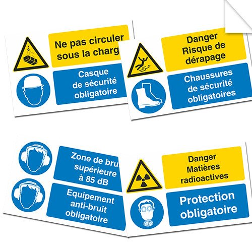 Autocollants Obligation combinés Danger