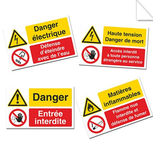 Autocollants Interdiction combinés Danger