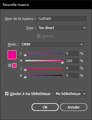 Paramétrage couleur cutpath sous Illustrator